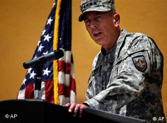General David Petraeus gives a speech to troops in Kabul, Afghanistan