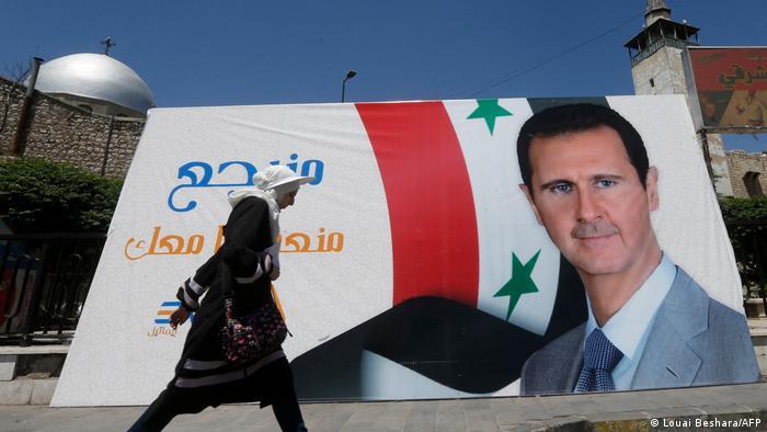 Syrien Wahlkampf l Wahlplakat, Präsident Bashar al-Assad in Damaskus