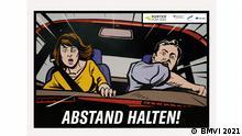 """Die Autobahnplakate 2020 Die neuen """"Runter vom Gas""""-Motive warnen im Pop-Art-Stil vor Ablenkung und zu geringem Sicherheitsabstand."""