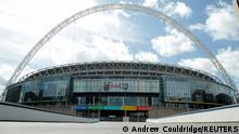 FILE PHOTO: General view outside Wembley stadium where the FA Cup Final was due to take place today before being postponed following the outbreak of the coronavirus disease (COVID-19), London, Britain, May 23, 2020. REUTERS/Andrew Couldridge/File Photo