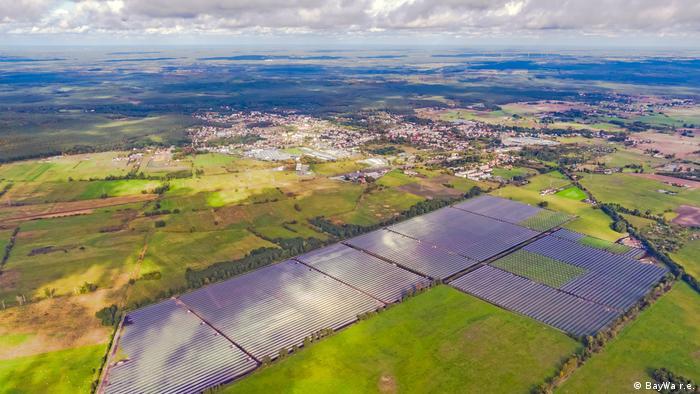 Solarpark Witnica in Polen Luftaufnahme