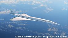 Mai 2021, ILLUSTRATION SHOWS: XB-1 is an important milestone towards the development of Boom's commercial airliner, Overture, pictured here. ... STORY: Boom Supersonic, the aerospace company building the world's fastest airliner, in Denver on Wednesday (7 Oct), unveiled its supersonic demonstrator, XB-1, history's first independently developed supersonic jet. To design and build XB-1, Boom recruited a team of experts from around the industry, forged relationships with key suppliers, and built a strong safety culture. XB-1 is slated to fly for the first time in 2021 and will undergo a 100% carbon-neutral flight test program. Boom's innovations include developing one of the highest-efficiency civil supersonic engine intakes ever tested, demonstrating Boom's ability to deliver a breakthrough in propulsive efficiency for Overture. Boom continues to make progress towards our founding mission—making the world dramatically more accessible, said Blake Scholl, Boom founder and CEO. XB-1 is an important milestone towards the development of our commercial airliner, Overture, making sustainable supersonic flight mainstream and fostering human connection. Boom's XB-1 virtual rollout highlighted some of XB-1's notable features including: Shape: XB-1's 71-foot-long fuselage has been optimally shaped for high-speed aerodynamic efficiency. Materials: The carbon-composite airframe maintains its strength and rigidity, even under the high temperatures and stresses of supersonic flight. Wing: The delta wing balances low-speed stability at takeoff and landing with high-speed efficiency. Propulsion: Three J85-15 engines, designed by General Electric, provide more than 12,000 pounds of thrust, allowing XB-1 to fly at breakthrough supersonic speeds. Cockpit ergonomics: Guidance and feedback from XB-1's test pilots played a key role in cockpit design, which was the product of hundreds of hours of human factors and usability testing...