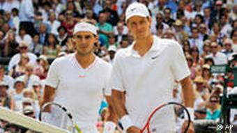 Nadal and Berdych before the match