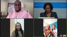 DW Studio Brussels+++Professeur Charles Gueboguo, Bella from Rainbow Sunrise Mapambazuko in DRC, Jocelyne from Rainbow Sunrise Mapambazuko in DRC, Zam Ebale, artist and Wendy Bashi