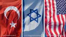 Bildkombo Flaggen  Türkei Israel USA