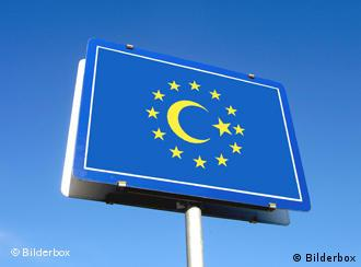 Road sign with EU stars surrounding the Turkish cresent moon symbol
