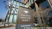 Exterior view of the European Medicines Agency, EMA, in Amsterdam's business district, Netherlands, Tuesday, April 20, 2021. Experts at the European Medicines Agency are preparing to present the conclusions of their investigation later on Tuesday into possible links between the Johnson