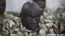 Commander of the Operation Lafiya Dole Major General Ibrahim Attahiru speaks at the army headquarters, in Maiduguri, Borno State in northcentral Nigeria, on October 4, 2017. The United Kingdom is providing expert training to the Nigerian military in helping to develop the skills necessary to tackle the terror threat of Boko Haram in North East Nigeria. Boko Haram's Islamist insurgency began in 2009 and has killed at least 20,000 and forced more than 2.6 million from their homes. / AFP PHOTO / PIUS UTOMI EKPEI (Photo credit should read PIUS UTOMI EKPEI/AFP via Getty Images)