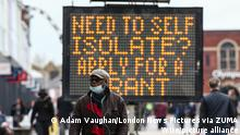 May 14, 2021, Bolton, Greater Manchester, England: Bolton, UK. A large LED sign in provides Coronavirus advice for people in Bolton town centre. Bolton now has the highest infection rate in Britain at 192.3 cases per 100,000. (Credit Image: © Adam Vaughan/London News Pictures via ZUMA Wire