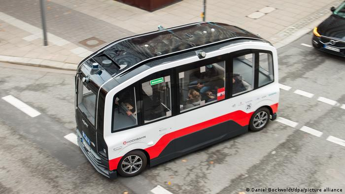 A driverless minibus transports passengers in the city of Hamburg