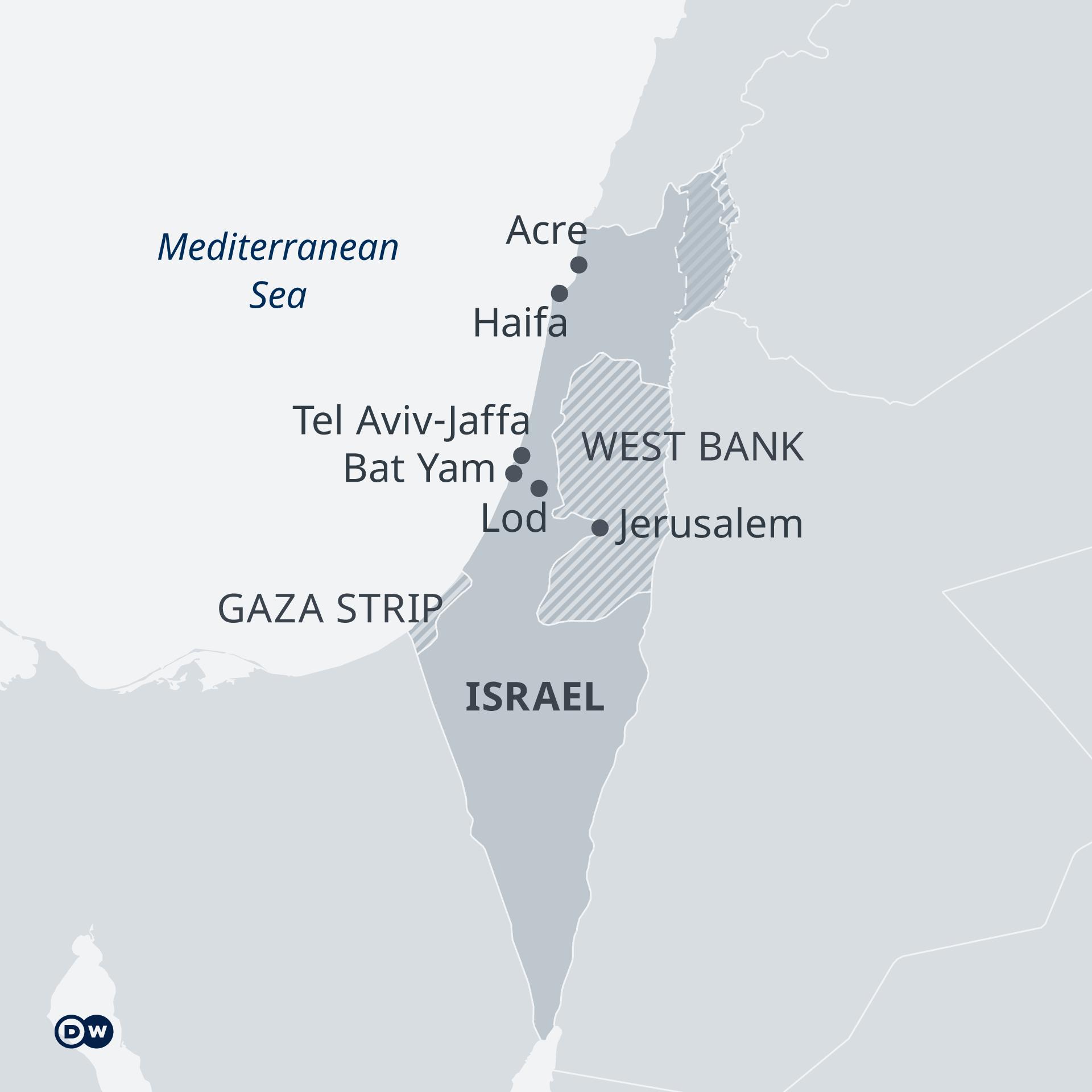 Peta Israel, Gaza, dan Tepi Barat