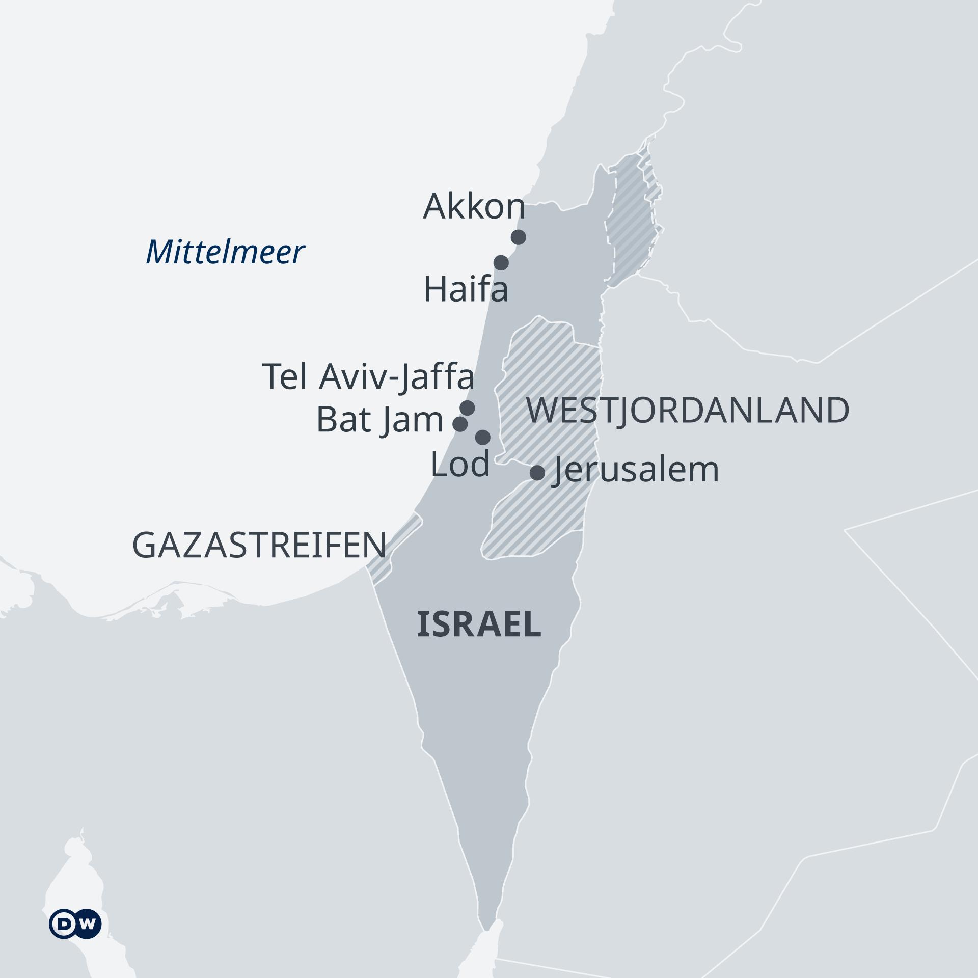 Infografik Karte Israel Palästina DE