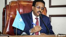 May 1, 2021*** Somalia's President Mohamed Abdullahi Mohamed, commonly known by his nickname of Farmajo, attends the special assembly for abandoning the two-year extension of his presidential term and requesting the immediate election to ease the recent political tension at Villa Hargeisa in Mogadishu on May 1, 2021. - Somalia is witnessing its worst political crisis in years, with deadly clashes and armed rivals in Mogadishu after the head of state extended his mandate by two years without elections being held. (Photo by - / AFP)