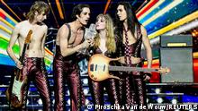 Maneskin of Italy appear on stage after winning the 2021 Eurovision Song Contest in Rotterdam, Netherlands, May 23, 2021. REUTERS/Piroschka van de Wouw