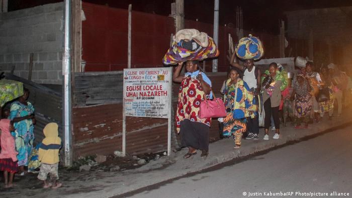 Foto de personas evacuadas en Congo.