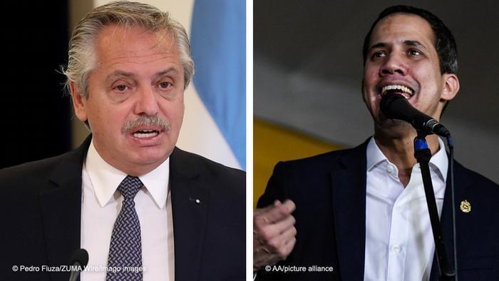 Foto de Alberto Fernández y Juan Guaidó