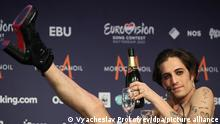 ROTTERDAM, NETHERLANDS - MAY 23, 2021: Vocalist Damiano David of the Maneskin rock band representing Italy, the winner of the 2021 Eurovision Song Contest Final, during a news conference at the Rotterdam Ahoy Arena. Vyacheslav Prokofyev/TASS