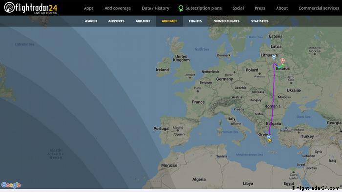 Screenshot flight radar Ryanair-Flug FR4978 Belarus