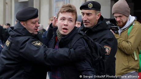 Raman Pratasevich is detained in Minsk, Belarus in 2017.