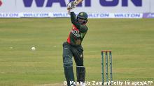 Bangladesh's Shakib Al Hasan plays a shot during the first one-day international (ODI) cricket match between Sri Lanka and Bangladesh at the Sher-e-Bangla National Cricket Stadium in Dhaka on May 23, 2021. (Photo by Munir Uz zaman / AFP) (Photo by MUNIR UZ ZAMAN/AFP via Getty Images)