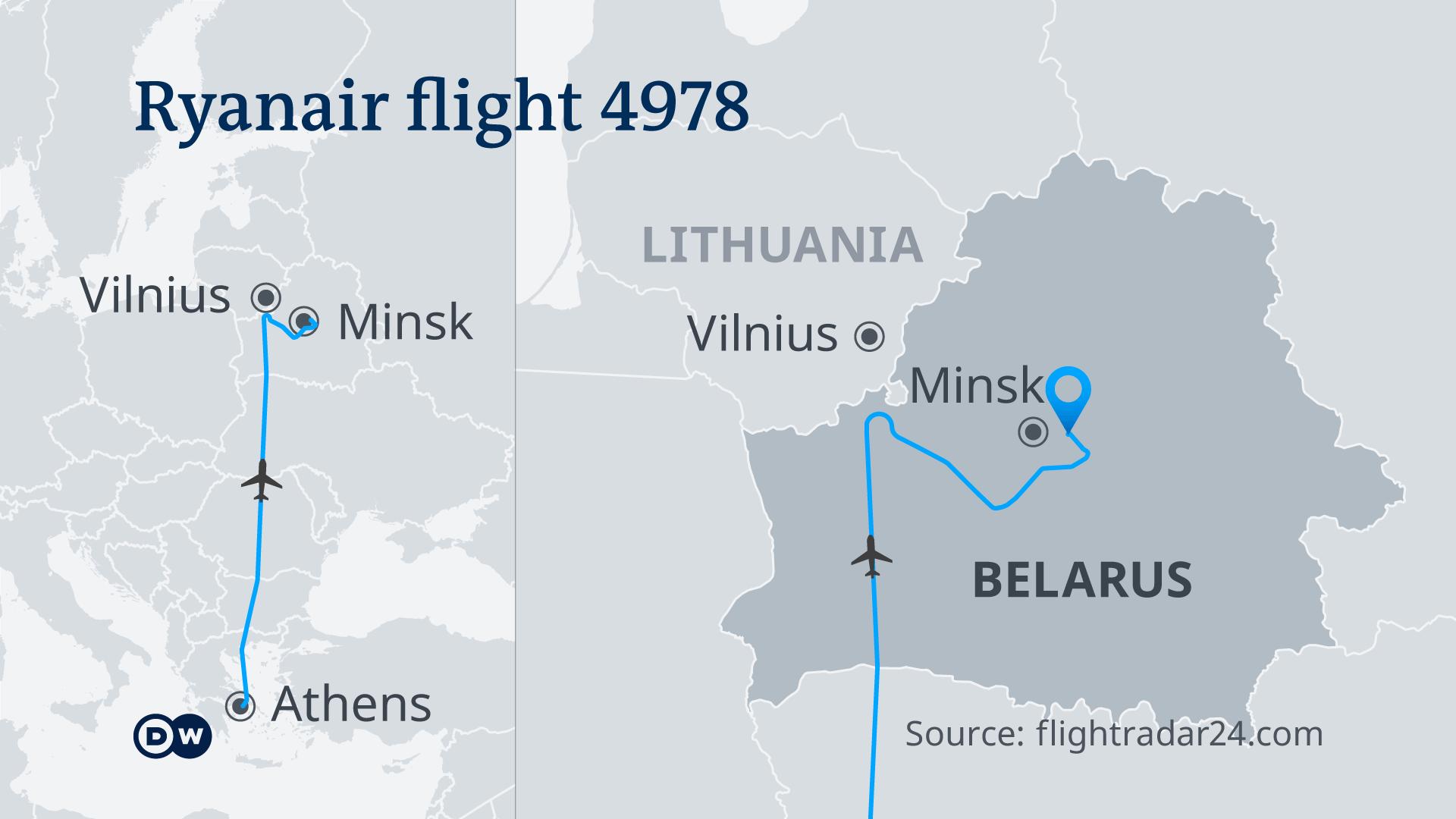 """Žemėlapis, rodantis """"Ryanair"""" skrydžio maršrutą 4978"""