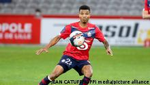 Reinildo Mandava of Lille during the French championship Ligue 1 football match between Lille OSC (LOSC) and AS Saint-Etienne (ASSE) on May 16, 2021 at Stade Pierre Mauroy in Villeneuve-d'Ascq near Lille, France - Photo Jean Catuffe / DPPI