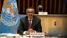 World Health Organization (WHO) Director General Tedros Adhanom Ghebreyesus speaks as he attends the World Health Assembly (WHA) amid the coronavirus disease (COVID-19) pandemic in Geneva, Switzerland, May 24, 2021. Christopher Black/World Health Organization/Handout via REUTERS THIS IMAGE HAS BEEN SUPPLIED BY A THIRD PARTY. NO RESALES. NO ARCHIVES