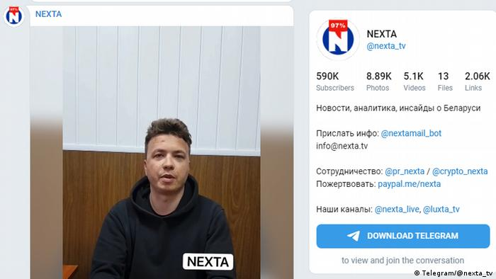 Screenshot Roman Protasevich telegram Video Nexta