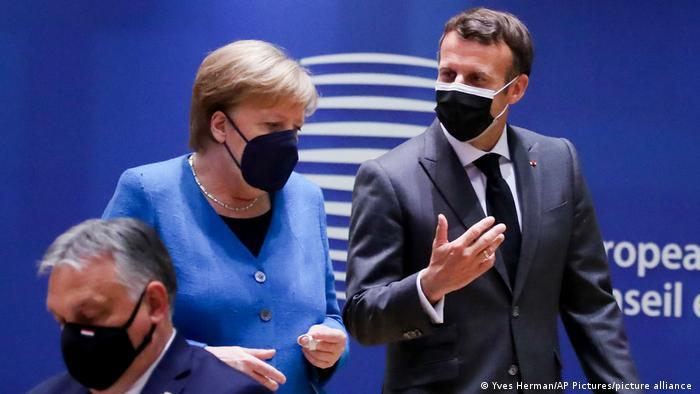 Ангела Меркель и Эмманюэль Макрон на саммите ЕС