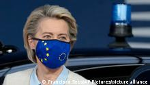 European Commission President Ursula von der Leyen arrives for an EU summit at the European Council building in Brussels, Monday, May 24, 2021. European Union leaders are expected, during a two day in-person meeting, to focus on foreign relations, including Russia and the UK. (AP Photo/Francisco Seco, Pool)