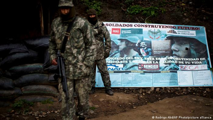 File photo: Soldiers stand guard at an anti-terrorist military base in Vilcabamba region of Cuzco, Peru.