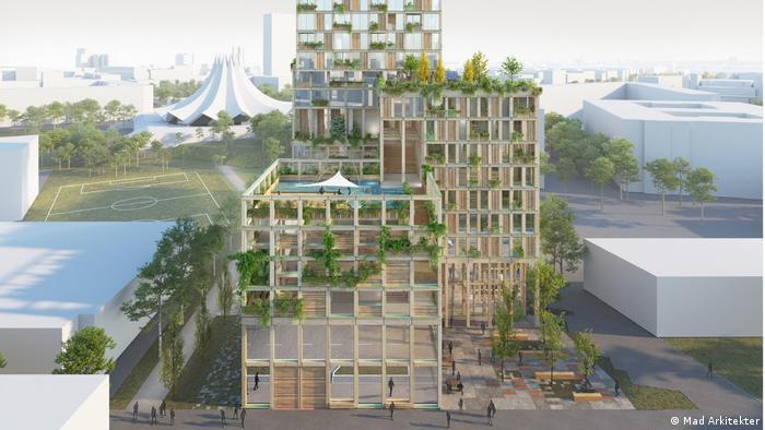 Здания, прилегающие к основному корпусу деревянного многофункционального комплекса в Берлине