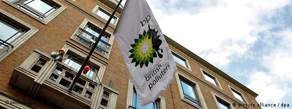 Greepeace demonstrators protesting against the oil spill in the Gulf of Mexico at the BP offices in London