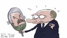 Thema: In Belarus wurde ein oppositioneller Journalist Roman Protasevich verhaftet. Das sind Methoden, die Lukaschenko wohl bei Putin abgeguckt hat. Sergey Elkin, Karikatur, Protasevich, Lukashenko, Putin Jahr/Ort: Moskau, 25.05.2021