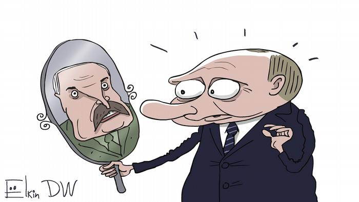 Лукашенко и Путин - карикатура Сергея Елкина