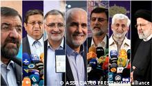 This combination of seven photos shows approved candidates for the June 18, Iranian presidential elections from left to right, Mohsen Rezaei, a former commander of the Revolutionary Guard, Abdolnasser Hemmati, head of central bank of Iran, Alireza Zakani, a former lawmaker, Mohsen Mehralizadeh, a former provincial governor, Amir Hossein Ghazizadeh Hashemi, deputy Parliament Speaker, Saeed Jalili, former top nuclear negotiator, Ebrahim Raisi, head of the Judiciary. Iran named the seven candidates Tuesday, May 25 and barred prominent candidates allied to its current president amid tensions with the West over its tattered nuclear deal. (AP Photo)