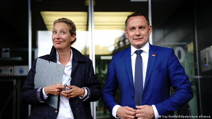 Alice Weidel and Tino Chrupalla on the day of their nomination as top AfD candidates in May 2021