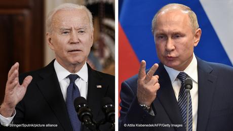 Kombobild Wladimir Putin und Joe Biden