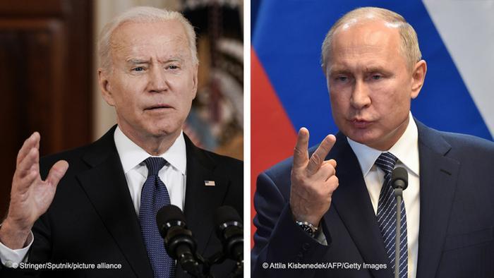 Presidentes Joe Biden e Vladimir Putin em montagem fotográfica