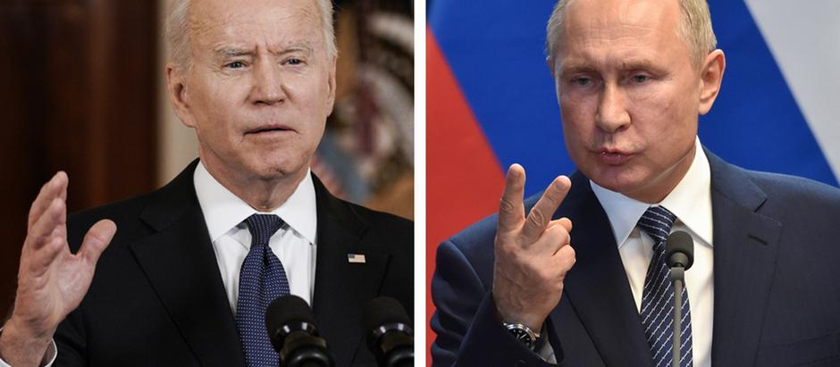 Pictures of Vladimir Putin and Joe Biden