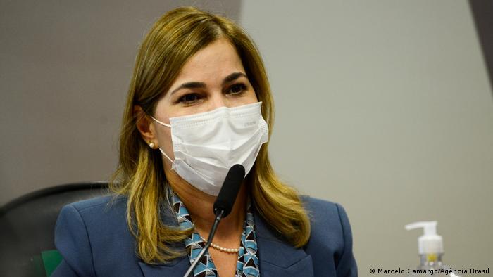 Capitã cloroquina Mayra Pinheiro durante reunião da CPI da Pandemia do Senado.