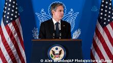 25.05.2021 Secretary of State Antony Blinken speaks with reporters during a news conference at his hotel, Tuesday, May 25, 2021, in Jerusalem. (AP Photo/Alex Brandon, Pool)