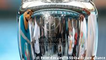 ST PETERSBURG, RUSSIA - MAY 22, 2021: The UEFA European Championship trophy is on display at Saint Petersburg Stadium (also known as Krestovsky Stadium or Gazprom Arena), one of the venues of the forthcoming 2020 UEFA European Football Championship (UEFA Euro 2020). The tournament, which was originally scheduled to take place in 2020, has been postponed due to the COVID-19 pandemic and rescheduled to be held from 11 June to 11 July 2021. St Petersburg, one of the UEFA Euro 202 host cities, is to host group stage and quarterfinal matches. Peter Kovalev/TASS