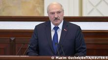 Belarusian President Alexander Lukashenko delivers a speech during a meeting with parliamentarians, members of the Constitutional Commission and representatives of public administration bodies, in Minsk, Belarus May 26, 2021. Maxim Guchek/BelTA/Handout via REUTERS ATTENTION EDITORS - THIS IMAGE WAS PROVIDED BY A THIRD PARTY. NO RESALES. NO ARCHIVES