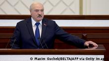 26.05.2021 Belarusian President Alexander Lukashenko speaks during his meeting with parliamentarians, members of Constitutional Commission and representatives of public administration bodies in Minsk on May 26, 2021. - Alexander Lukashenko said on May 26 that attacks on the country have crossed red lines after the diversion of a Ryanair flight over Belarusian airspace sparked a global outcry. (Photo by Maxim GUCHEK / BELTA / AFP) (Photo by MAXIM GUCHEK/BELTA/AFP via Getty Images)