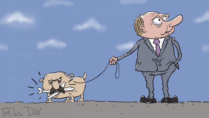 Путин держит на поводке пса Лукашенко - карикатура Сергея Елкина