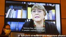 Schweiz l UN-Menschenrechtskommissarin Michelle Bachelet, Videoscreen