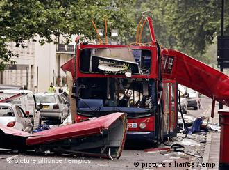 A double decker bus destroyed by the 2005 attack