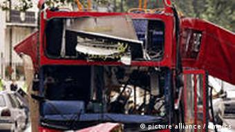 a bombed double-decker bus in London