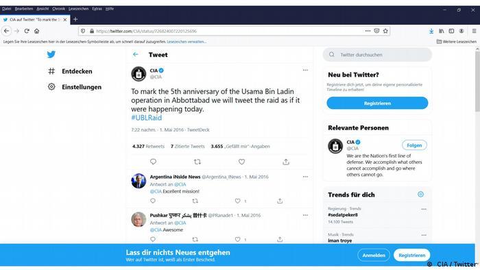 Screenshot CIA Twitter bin Ladin Raid